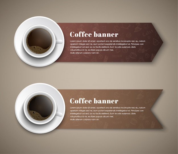 Design coffee banners with cups of coffee