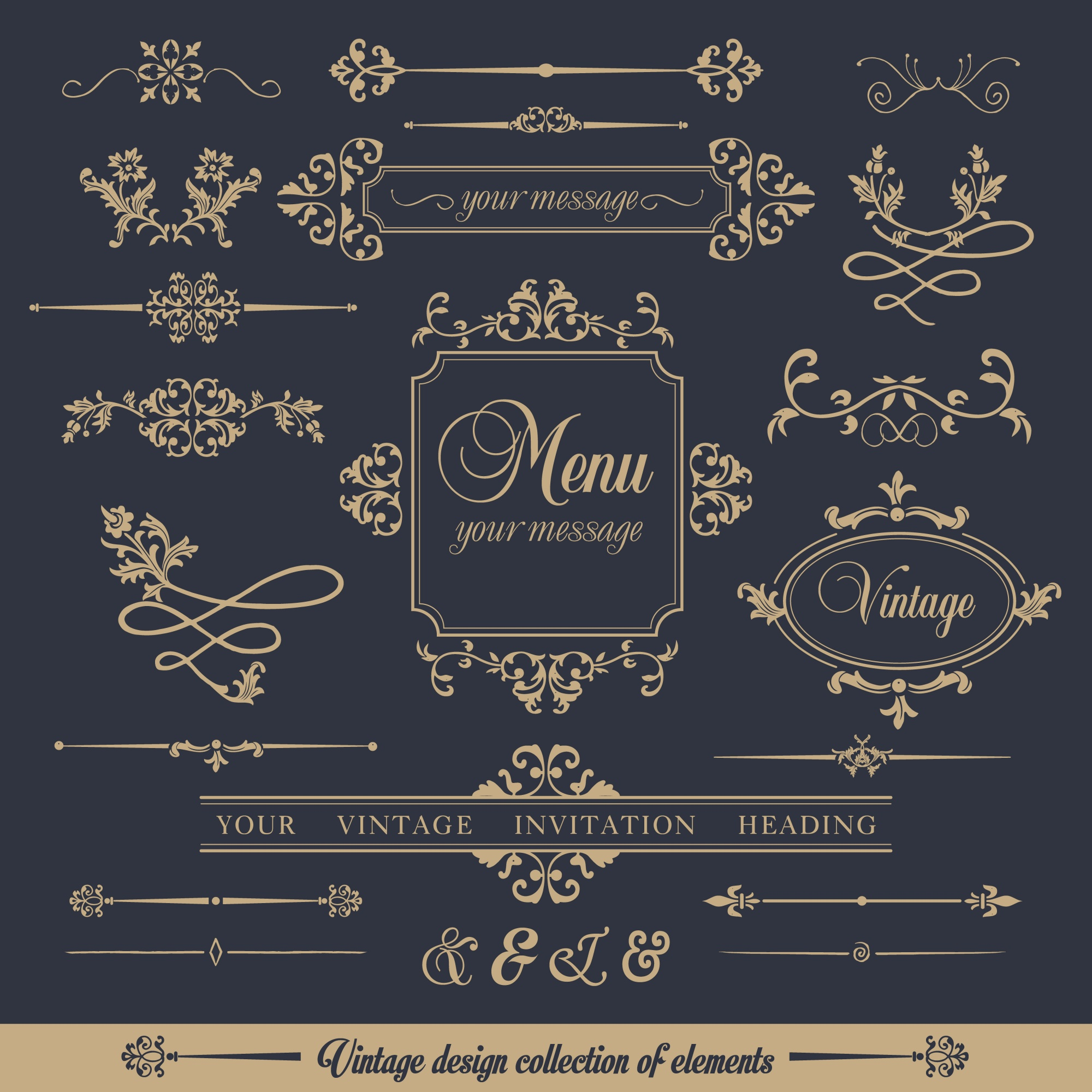Design collection of ornamental frames