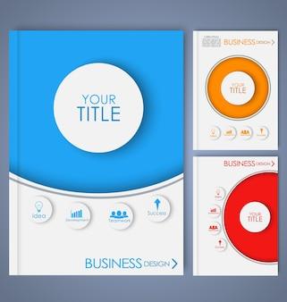 幾何学的なスタイル、線、円、ダイヤモンド、八角形でビジネス用のカラーパンフレットをデザインします。セットする。