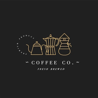 Design colorful template logo or emblem - coffee shop and cafe. food icon. golden label in trendy linear style isolated on white background.