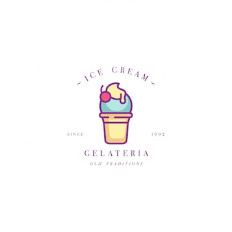 Design colorful template logo or emblem - ice cream, gelato. ice cream icon. logo in trendy linear style isolated on white background.