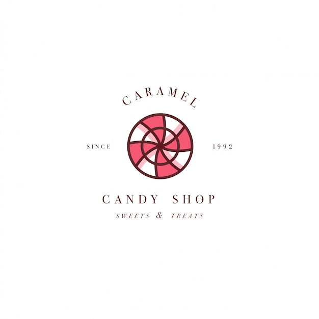Design colorful template logo or emblem - lollipop with sprinkles caramel candy. sweet icon. logos in trendy linear style isolated on white background.