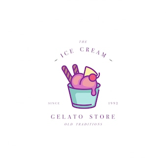カラフルなテンプレートのロゴやエンブレム-アイスクリーム、ジェラートをデザインします。アイスクリームアイコン。白い背景に分離されたトレンディな直線的なスタイルのロゴ。
