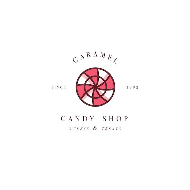 カラフルなテンプレートのロゴやエンブレムをデザイン-キャラメルキャンディを振りかけるとロリポップ。甘いアイコン。白い背景に分離されたトレンディな直線的なスタイルのロゴ。