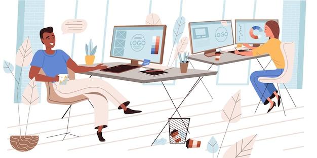 평면 디자인의 디자인 회사 개념입니다. 동료 디자이너는 비즈니스 브랜딩을 위한 로고를 만들고 그래픽 태블릿으로 그림을 그리며 사무실에서 작업에 대해 논의합니다. 크리에이티브 에이전시 사람들 장면. 벡터 일러스트 레이 션