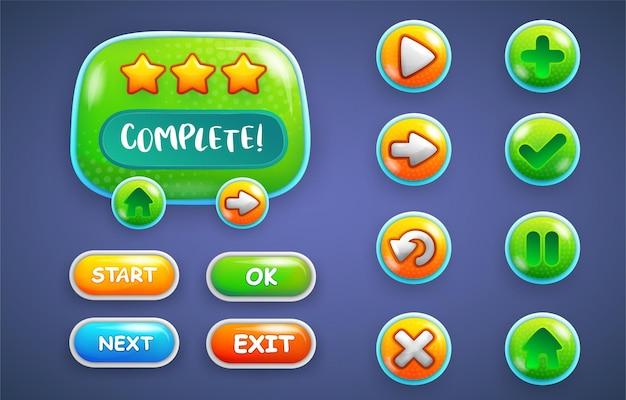 Design per set completo di pop-up di gioco con pulsanti di livello