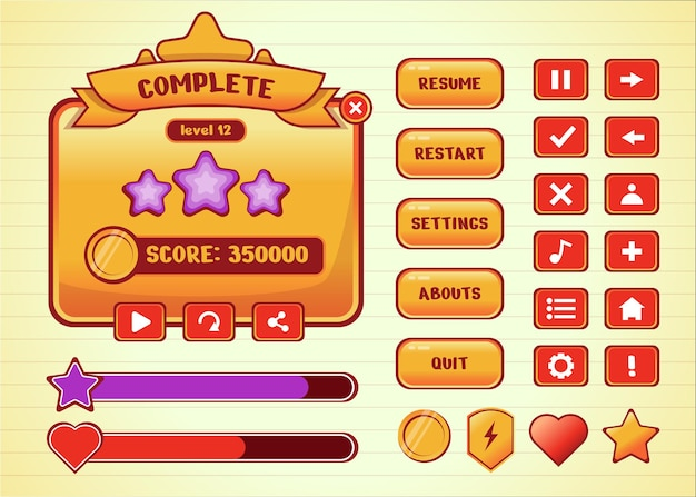 Design for complete set of score button game pop-up, icon, window and elements for creating medieval rpg video games