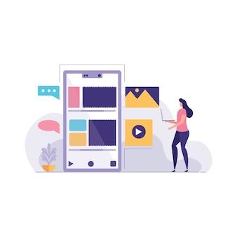 Design concept of business management software illustration