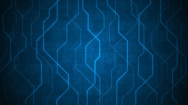 Design in the concept of electronic circuit boards on a dark blue background.
