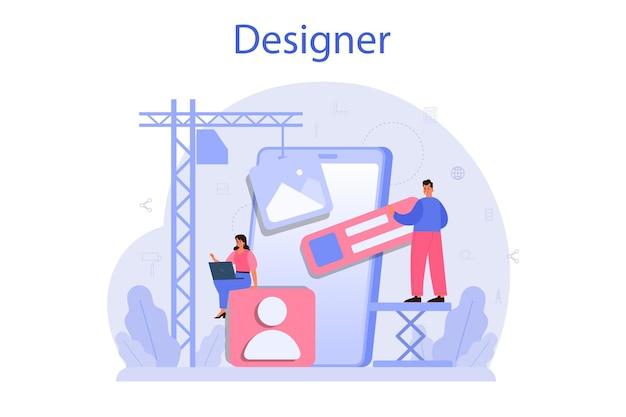 디자인 컨셉. 그래픽, 웹, 인쇄 디자인. 전자 도구 및 장비로 디지털 드로잉. 창의성 개념. 평면 그림 벡터