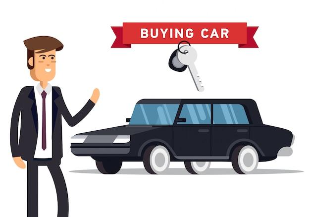 Концепция дизайна выбора автомобиля и покупки.