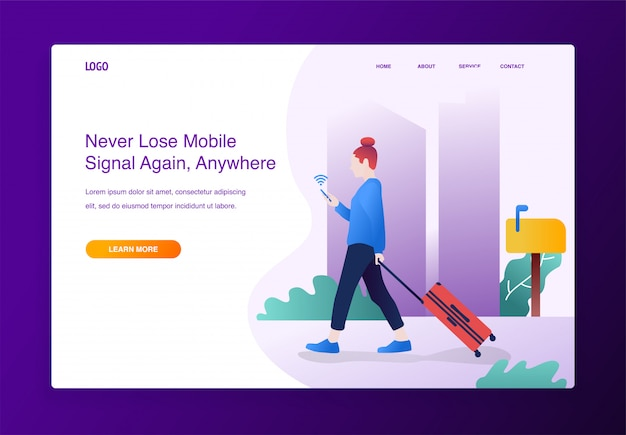 Design concept. traveler woman using mobile phone searching wifi signal, for website