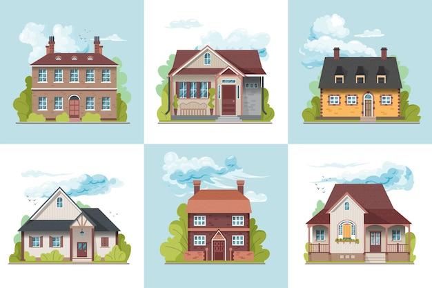 Concetto di design di varie case di villaggio suburbano illustrazione piatta