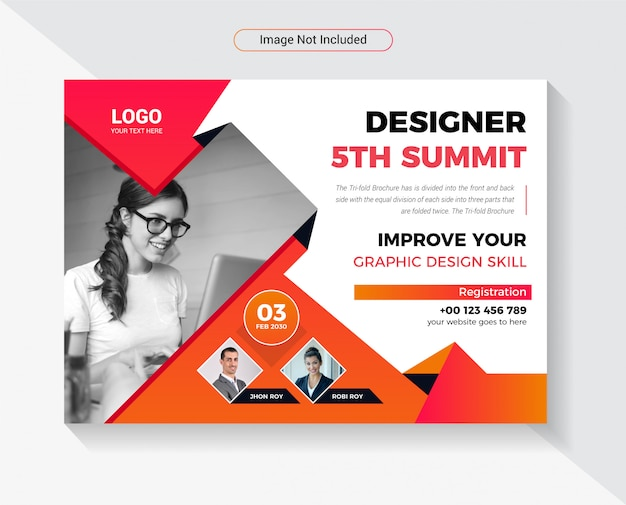 Design conference horizontal flyer template