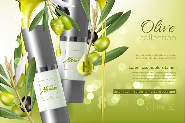 Design cosmetics product advertising for catalog, magazine. mock up of cosmetic package. moisturizing cream, gel, milk body lotion with olive oil.