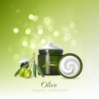 Дизайн рекламы косметической продукции для каталога, журнала. макет косметической упаковки. увлажняющий крем, гель, молочный лосьон для тела с оливковым маслом.