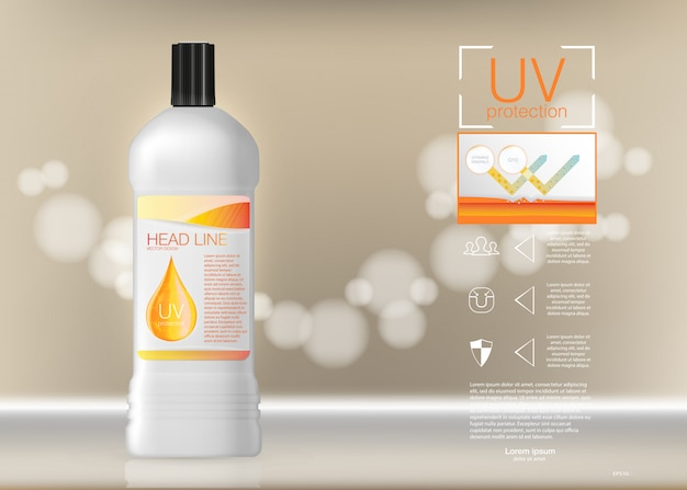 Design cosmetics product advertising.  illustration  . sunblock ads template, sun protection cosmetic products design with cream or liquid, background.
