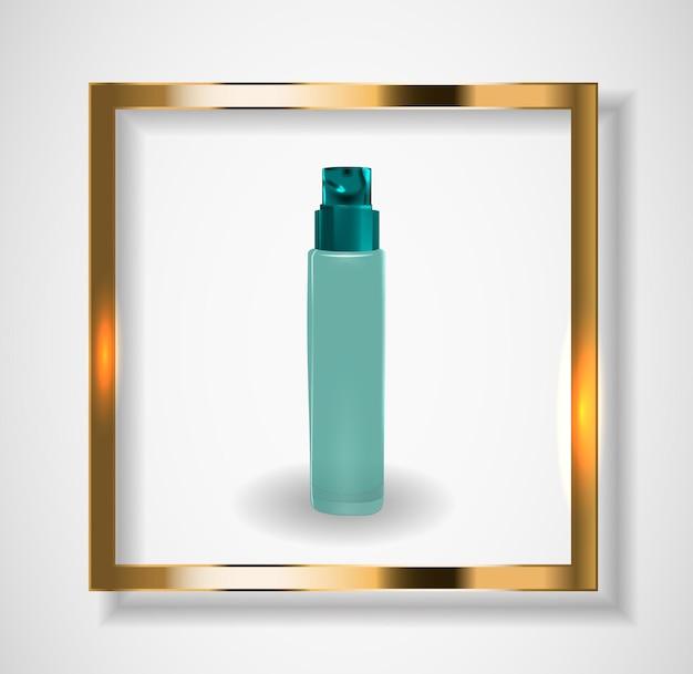 広告や雑誌の背景の化粧品製品テンプレートをデザインします。 3dリアルなベクトルイラスト。 eps10