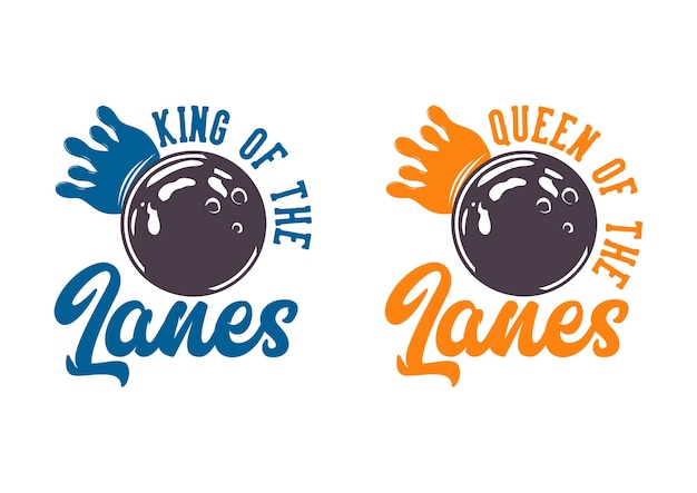 Design couple king and queen of the lanes vintage illustration