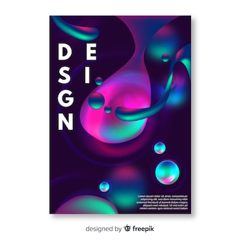 Design cover template with colorful liquid effect