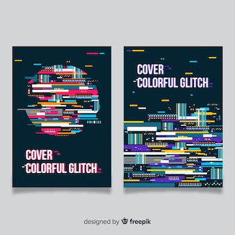 Design cover with colorful glitch effect