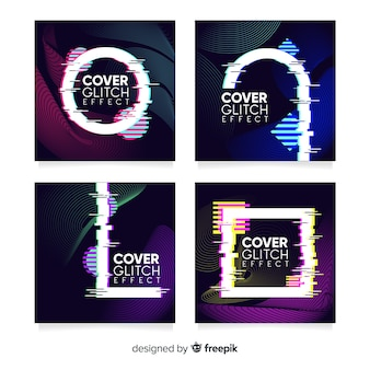 Design covers with colorful glitch effect collection