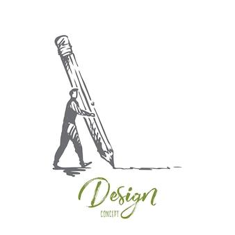디자인, 크리에이티브, 그래픽, 개발, 인터페이스 개념. 손으로 그린 사람 연필 개념 스케치로 그리기.