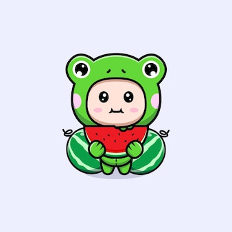 Design of cute boy wearing frog costume eating watermelon fruit