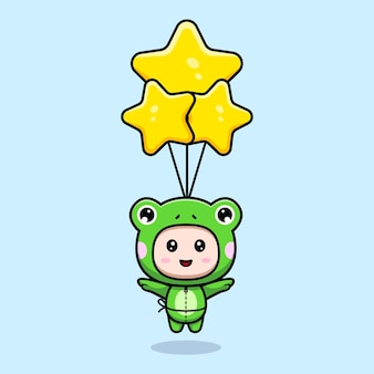 Design of cute boy wearing frog costume floating with star balloon