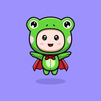 Design of cute boy wearing frog costume flying