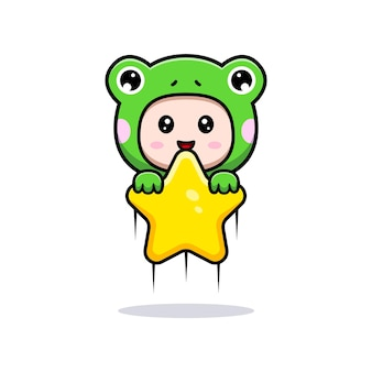 Design of cute boy wearing frog costume holding star