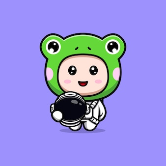 Design of cute boy wearing frog costume with astronaut suit