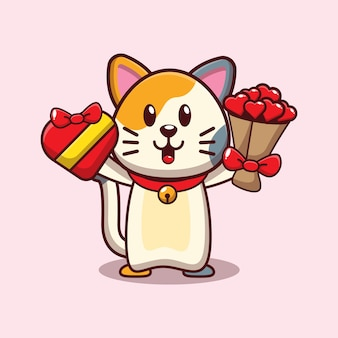 Design of cute cat holding valentine gift and love flower bouquet