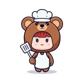 Design of cute girl chef  wearing bear costume