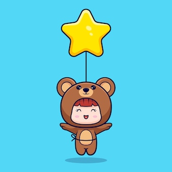 Design of cute girl wearing bear costume floating with star balloon