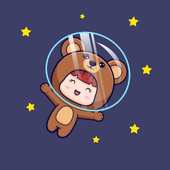 Design of cute girl wearing bear costume floating with star on space