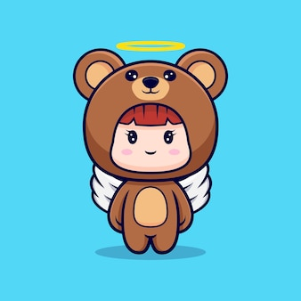 Design of cute girl wearing bear costume have wings