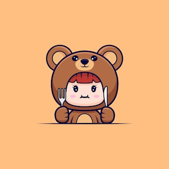 Design of cute girl wearing bear costume hungry