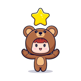Design of cute girl wearing bear costume with star