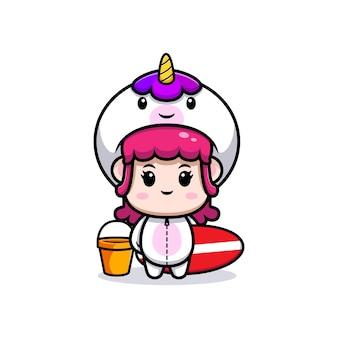 Design of cute girl wearing unicorn costume holding surfing board icon illustration Premium Vector