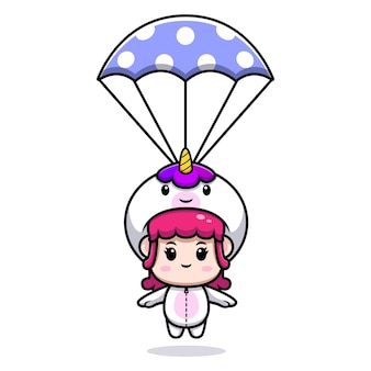 Design of cute girl wearing unicorn costume with parachute icon illustration