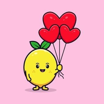 Design of cute lemon character holding heart balloon flat mascot illustration