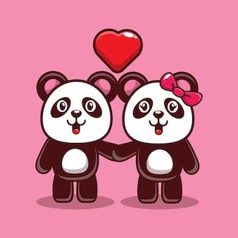 Design of cute panda falling in love
