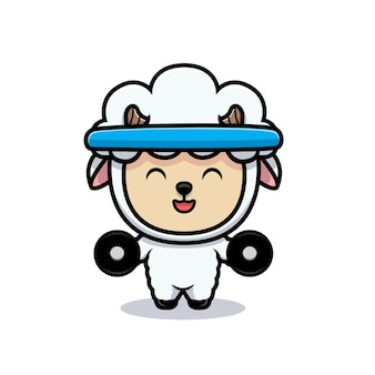 Design of cute sheep are exercising to gein muscle