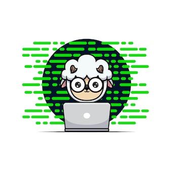 Design of cute sheep hacker