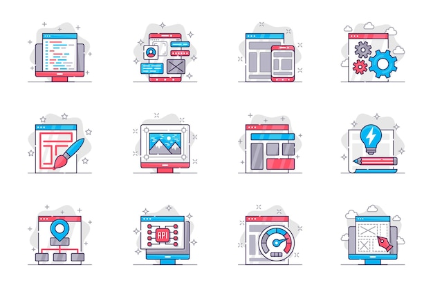 Design and development concept flat line icons set website creation and optimization for mobile app