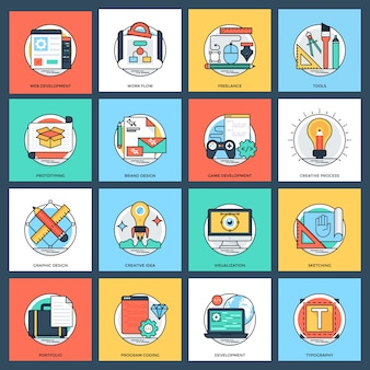 Design and development flat vector icons set