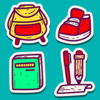 Дизайн каракули наклейки обратно в школу