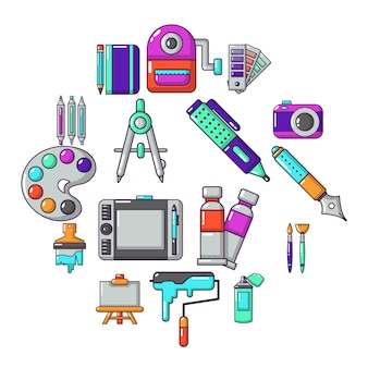 Design and drawing tools icon set, cartoon style