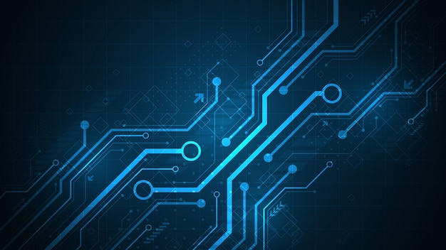 Design in electronic circuit concept, diagonal style on dark blue background.